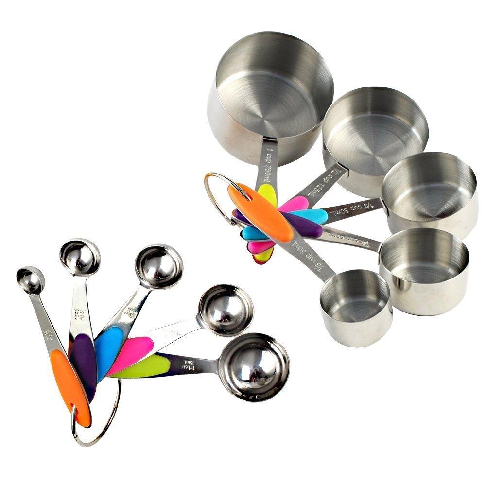 10er Set Edelstahl Messbecher Messlöffel Cup mit dem Silikon Griff für Küche Kaffee 452LEOFANS