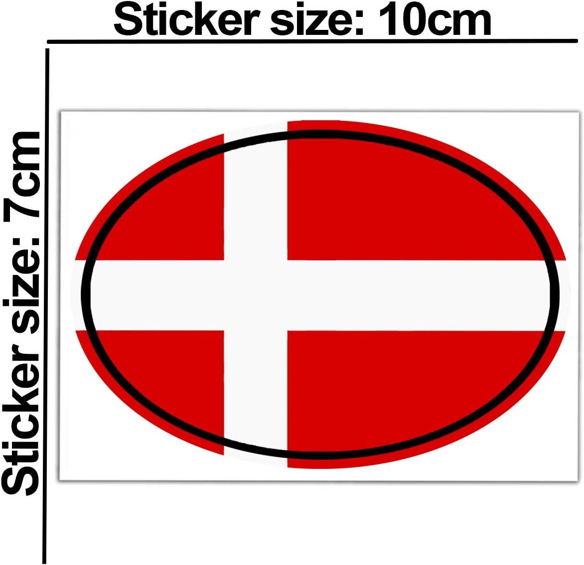 Biomar Labs 2 Stück Vinyl Dänemark Denmark Flagge Aufkleber Autoaufkleber Stickers Auto Moto Motorrad Fahrrad Helm Fenster Tuning B 193 Auto