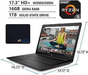 "2020 Newest HP 17z Laptop, 17.3"" HD+ Widescreen, AMD Ryzen 5 3500U Quad-Core Processor, DVD, HDMI, Webcam, Wi-Fi, Bluetooth, Windows 10 Home, KKE Mousepad, Black (16GB RAM | 1TB SSD)"