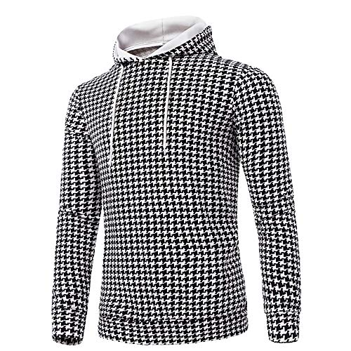 WOCACHI Mens Hoodies Houndstooth Hooded Pullover Sports Casual