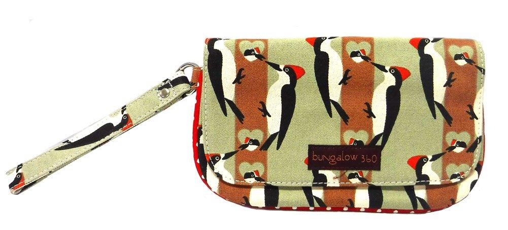 Bungalow360 Women's Vegan Cotton Canvas Wristlet (Woodpecker)