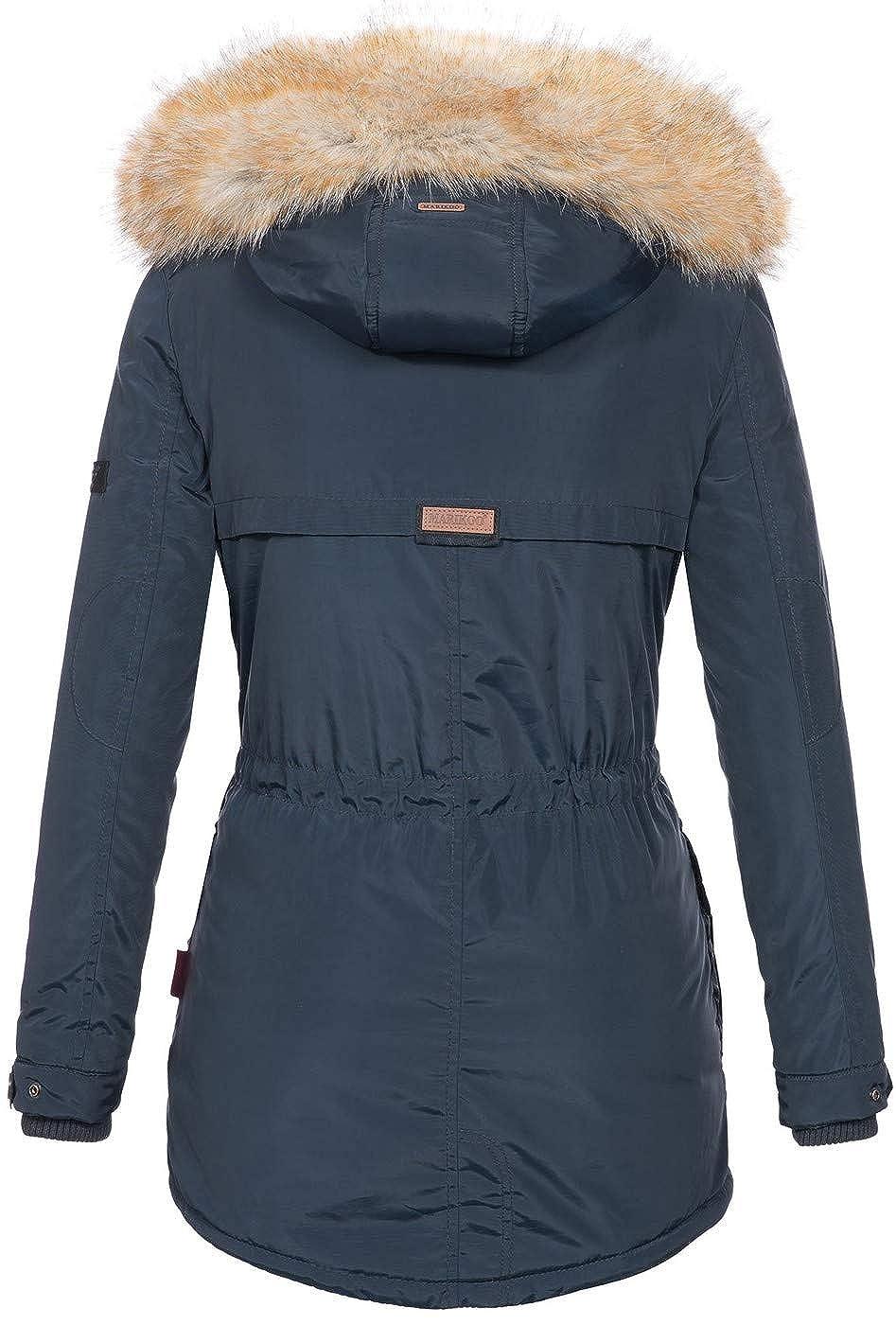 69aefb662ff3 Marikoo Damen Winterjacke Kapuze Kunstfell Winter Jacke warm lang ...