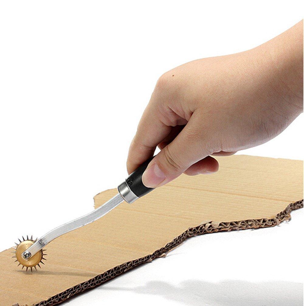 2 4/mm Roue de repiquage en cuir Papier chiffon en carton overstitch en cuir Craft Outil Roulette point de couture espacement perforation trou Maker