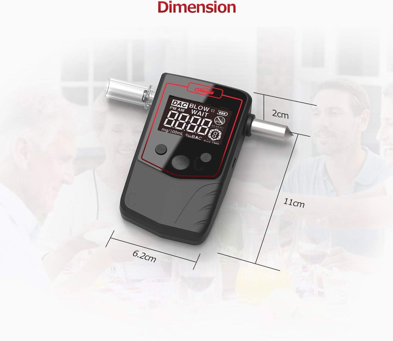 oasser Ethylotest Electronique Homologu/é Alcootest Num/érique Rechargeable /à Batterie au Lithium Testeur d/'Alcool Equip/é de Marteau de Secours avec Affichage LCD 4 Embouts