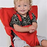 Pueri Baby High Chair Harness Feeding Booster Seat Strap Harness Belt Portable Travel Safety High Chair Seat Cover for Baby Kid Toddler (Red)