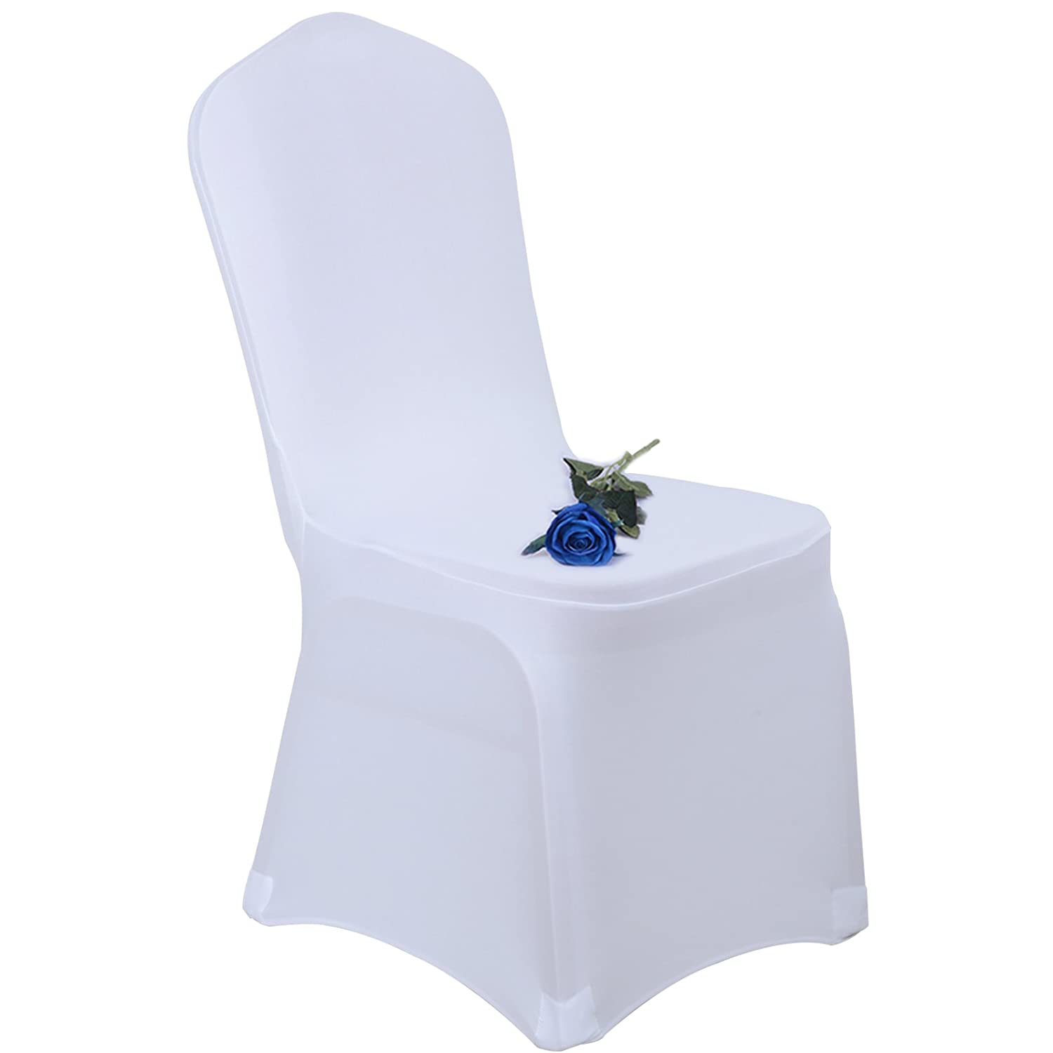 Voilamart White Chair Covers Pack of 100 Spandex Lycra Cover Universal Stretch Slipcovers Wedding Banquet Party Anniversary Decoration