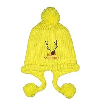 3c6d05b071b Amazon.com  Baby Beanie Hat YeahiBaby Kids Winter Knit Hats Crochet Earflap  Hat with Pom Poms (Yellow)  Baby