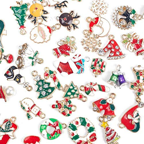 LoveInUSA Enamel Christmas Charms,50pcs Mixed Style Gold Plated Charms Pendants,80g Christmas Craft Charms Christmas Charms Pendants for DIY Jewelry Making Necklace Bracelet Earring