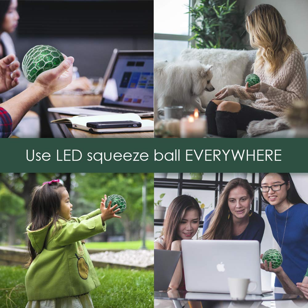 Light Up Stress /& Anxiety Relief Ball Non-Toxic For Kids /& Adults Autism ADHD Green DNA Ball Sensory and Fidget Toy-Concentration in Class Set of 3 LED Squishy Mesh Anti Stress Ball