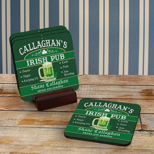Irish Pub Personalized Coaster Set of 4, Hardwood, 3.75