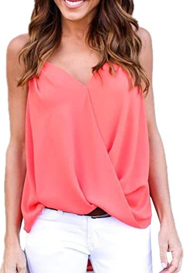 Womens Ladies V-Neck Lace Strap Vest Tank Cami Top Loose Sleeveless Blouse Shirt