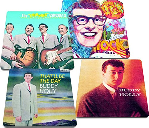 Buddy Holly & The Chirping Crickets Rock and Roll Albums Reproduction on Neoprene Coaster Set of