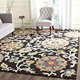 Safavieh Blossom Collection BLM401A Handmade Floral Vines Charcoal and Multi Premium Wool Area Rug (8′ x 10′) Review