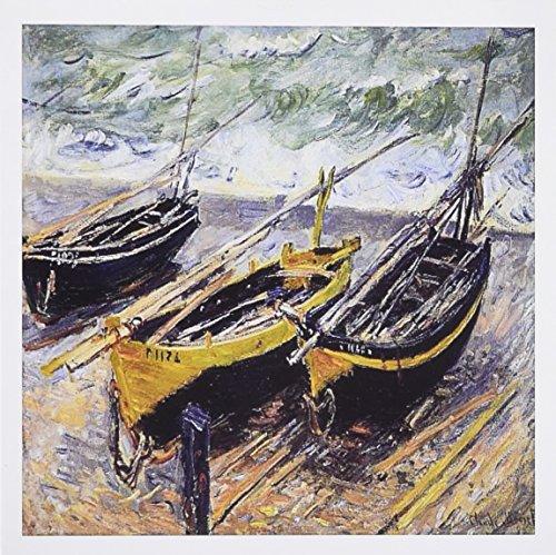 3dRose tres barcos de pesca, Claude Monet PINTURA 1885, pd-us–Tarjetas de felicitación, 15.2x 15.2cm, juego de...