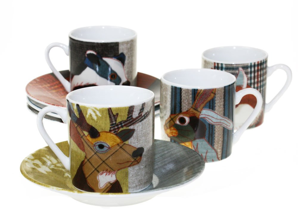 Magpie - Beasties Espresso Set - set of 4 cups and saucers