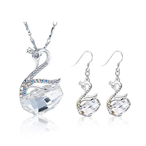 1b7e9d94fc60 Yoome - Conjunto de collar y pendientes de plata de ley 925 con grabado de  lago
