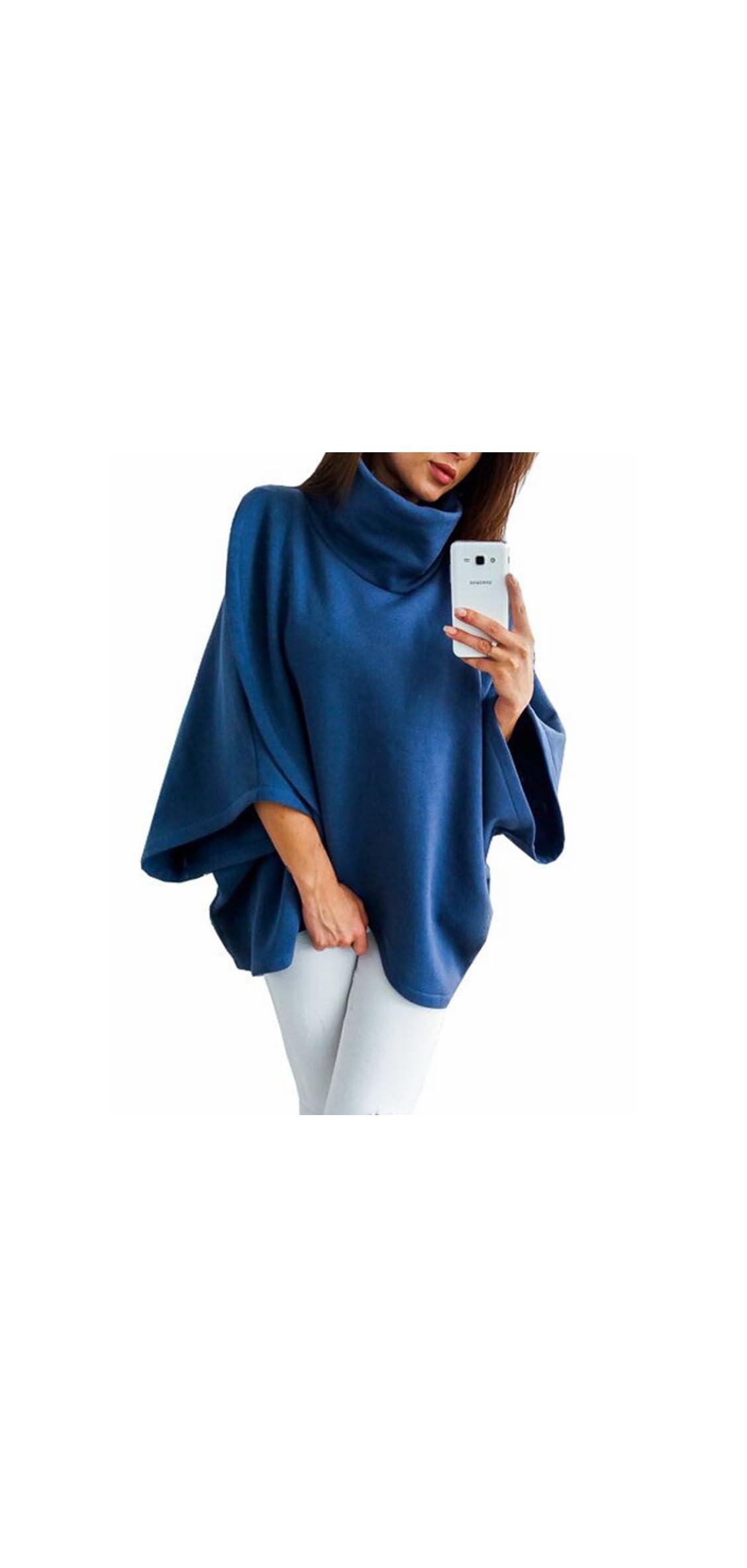 Women's Turtleneck / Batwing Sleeve Irregular Hem Tunic