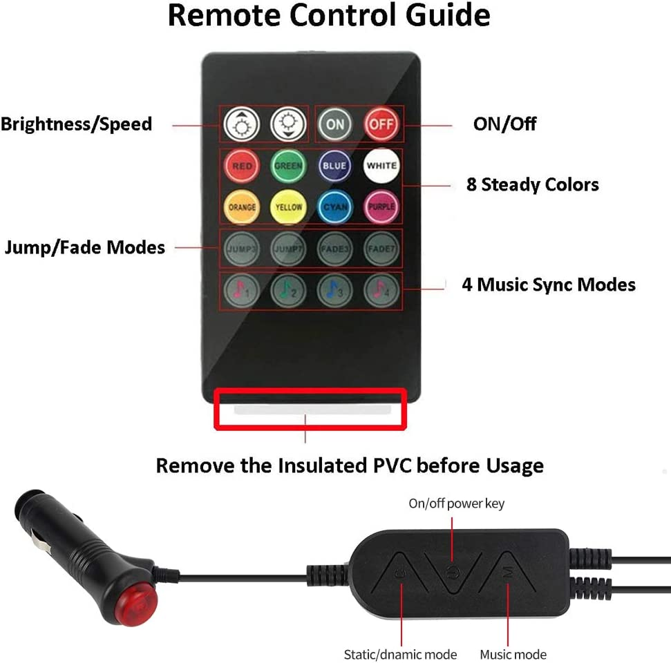 Car led strip lights interior with APP and IR Remote CT CAPETRONIX Interior Car Lights Upgrade 2-in-1 4pcs Waterproof RGB 48 LEDs Music Car LED Lights Under Dash Lighting Kit with Car Charger DC 12V