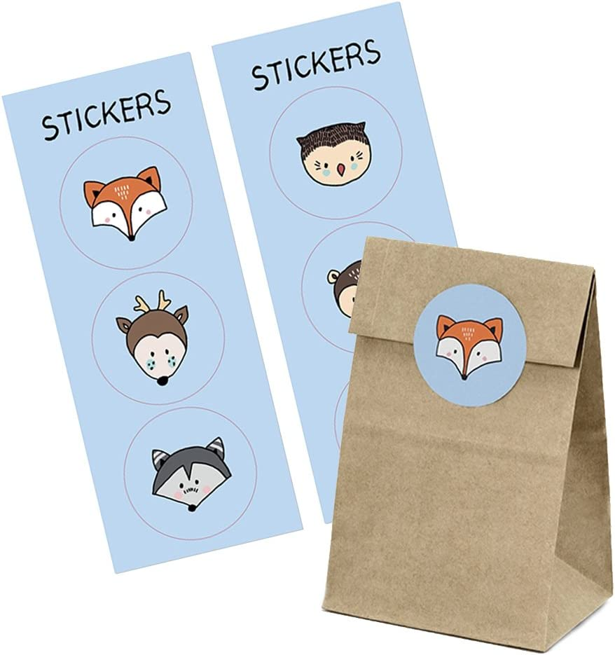 Paper Bags With Stickers Animals Of The Woods For Sweets And Party Bags Bürobedarf Schreibwaren
