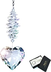 Shario 45mm Clear Glass Heart Crystal Ball Prism Pendant, Suncatcher for Windows, Indoor Outdoor Garden Hanging Décor, Gifts for Women, Mom and Children (Clear)