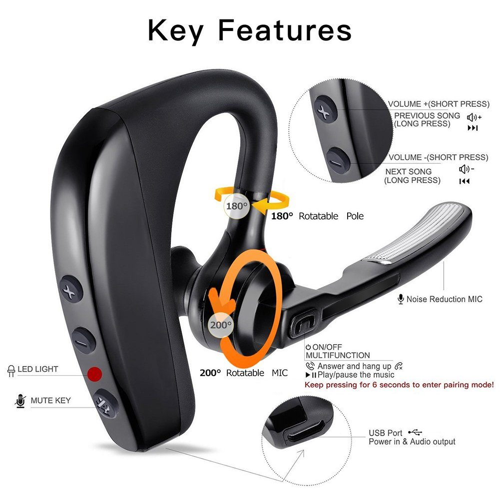 Bluetooth Headset Kabelloses Freisprechanlage Kopfhörer mit Mic Mute Switch Bloothooth Headset Freisprecheinrichtung Ohr Kompatibel für iPhone Samsung Handy