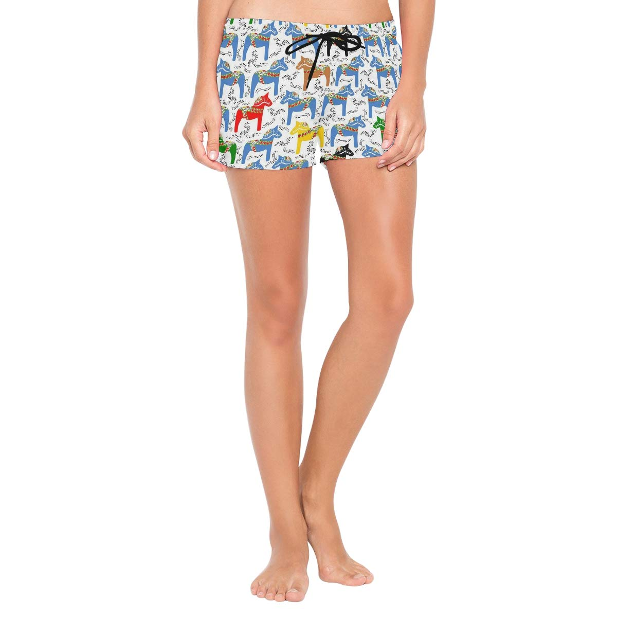 Dala Horses Lttedeng Womens Print Beach Shorts with Pockets Quick Dry Boardshort Swimming Trunks Tropical Short