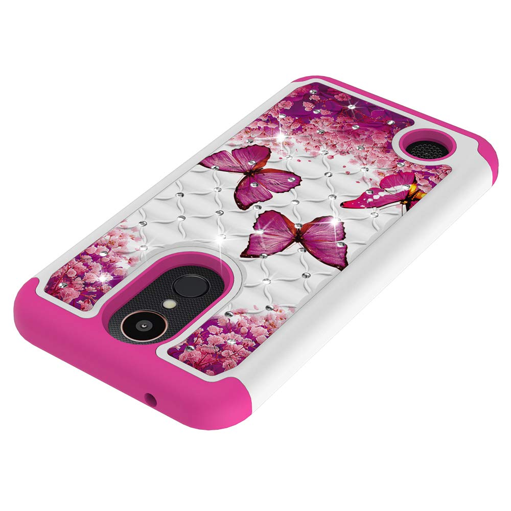 LG K20 Plus Case,LG Harmony//LG K10 2017//LG LV5 Case,Luxury Glitter Sparkle Bling Case,Studded Rhinestone Crystal Hybrid Dual Layer Armor Case for LG K20 Plus Blue Dream Catcher Mandala Flowers