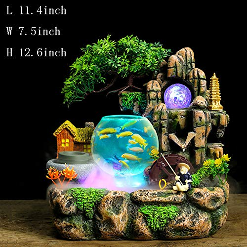 ntain,Tabletop Decorative Rockery Water Fountain Alpine Flowing Water Tabletop Fountain with Light Resin Water Decoration Household Decorations Business Gifts-C 12.6inch ()