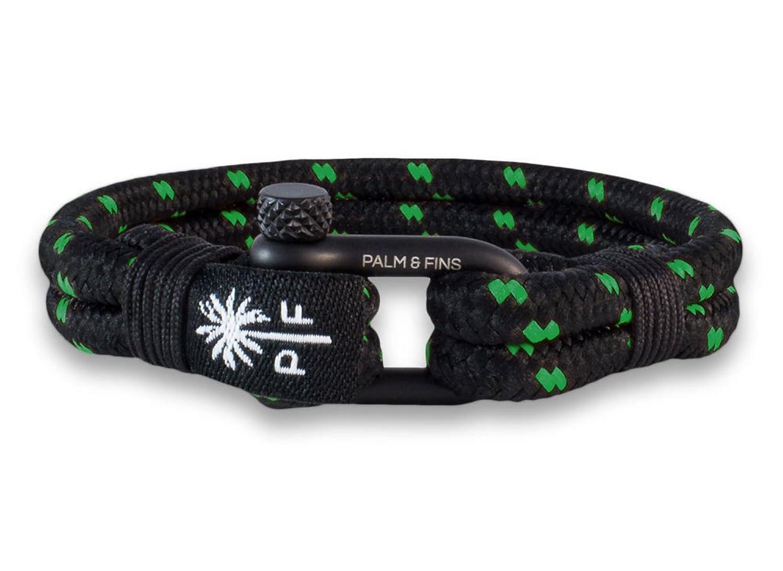 """Palm & Fins® Brazalete """"Double Six"""" para hombre de color negro/verde, de nailon y acero inoxidable de alta calidad"""