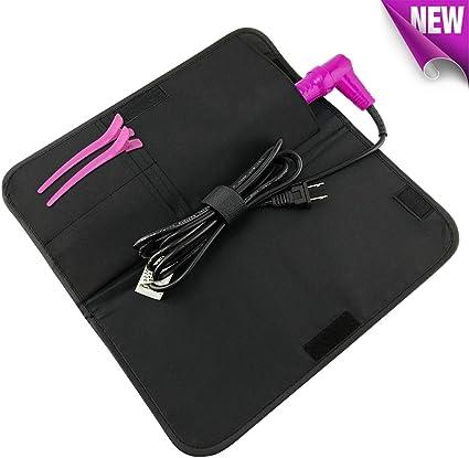 Bolsa para alisador de cabellos de Hairizone; resistente al calor, con funda de viaje y soporte de cable, bastoncillos, pinzas y hermoso color negro: Amazon.es: Belleza
