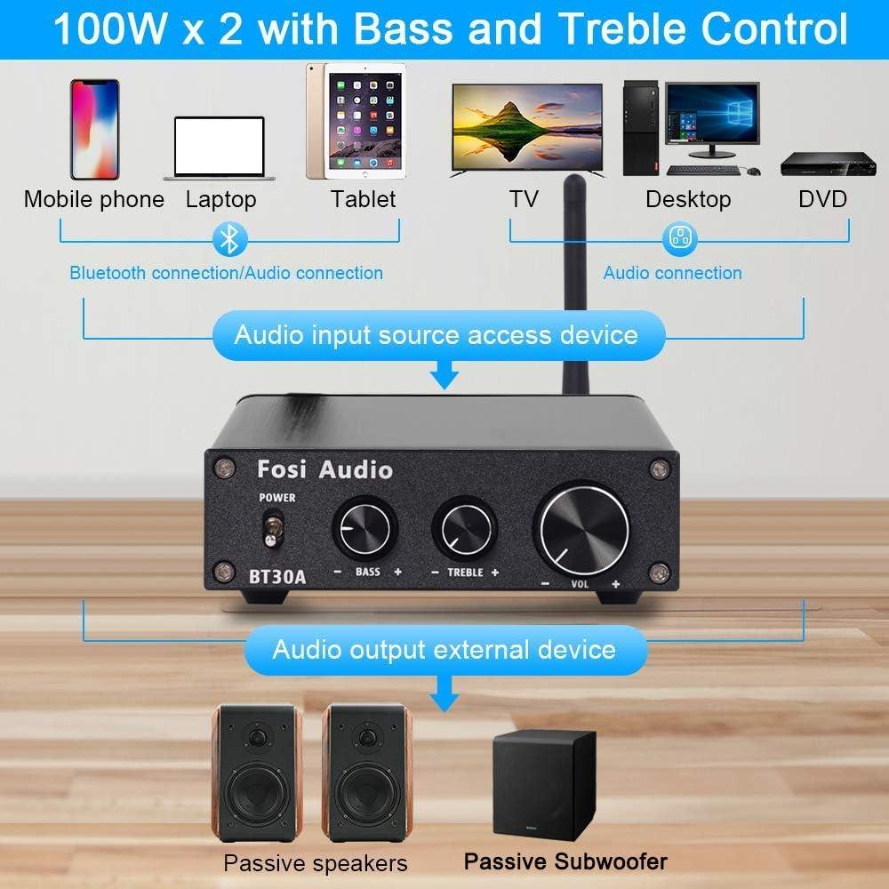 R/écepteur Audio St/ér/éo /à 2.1 Canaux Ampli Num/érique Hi-FI de Classe D avec Contr/ôle des Graves et des Aigus 50W x2 BT30A 100W x1 pour Haut-Parleurs Passifs Subwoofer Amplificateur Bluetooth 4.2