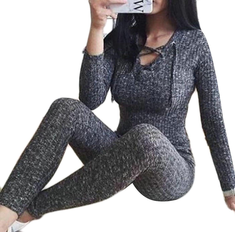 KLJR-Women Casual Long Sleeve Lace Up Knit Jumpsuit Romper