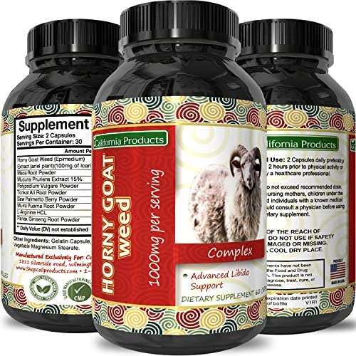 Horny Goat Weed Extract Libido Supplement for Men Women Boosts Sex Drive Increases Desire Naturally Extra Strength Herbal Formula With Maca Root Tongkat Ali By California Products