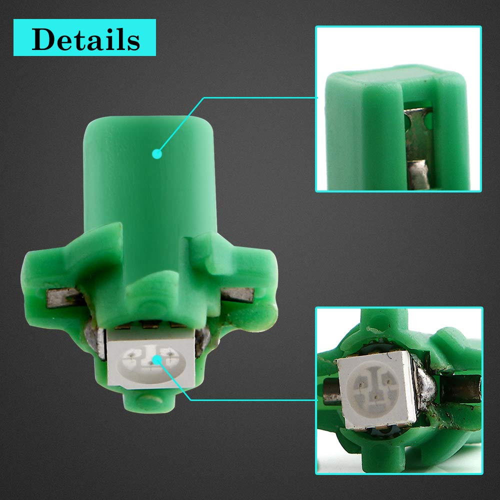 Grandview 10 pcs B8.5 5050 1SMD LED Salpicadero Bombilla Luz del Panel de instrumentos T5 17 18 27 37 58 70 73 74 79 85 86 2721 color Blanco