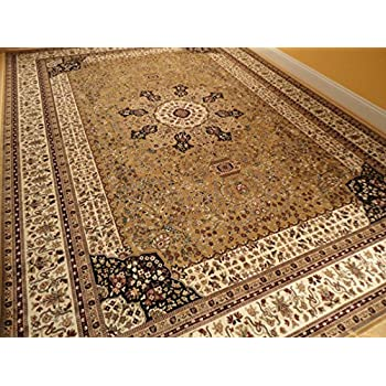 Luxury silk gold rugs traditional rug 7x10 - Gold rugs for living room ...