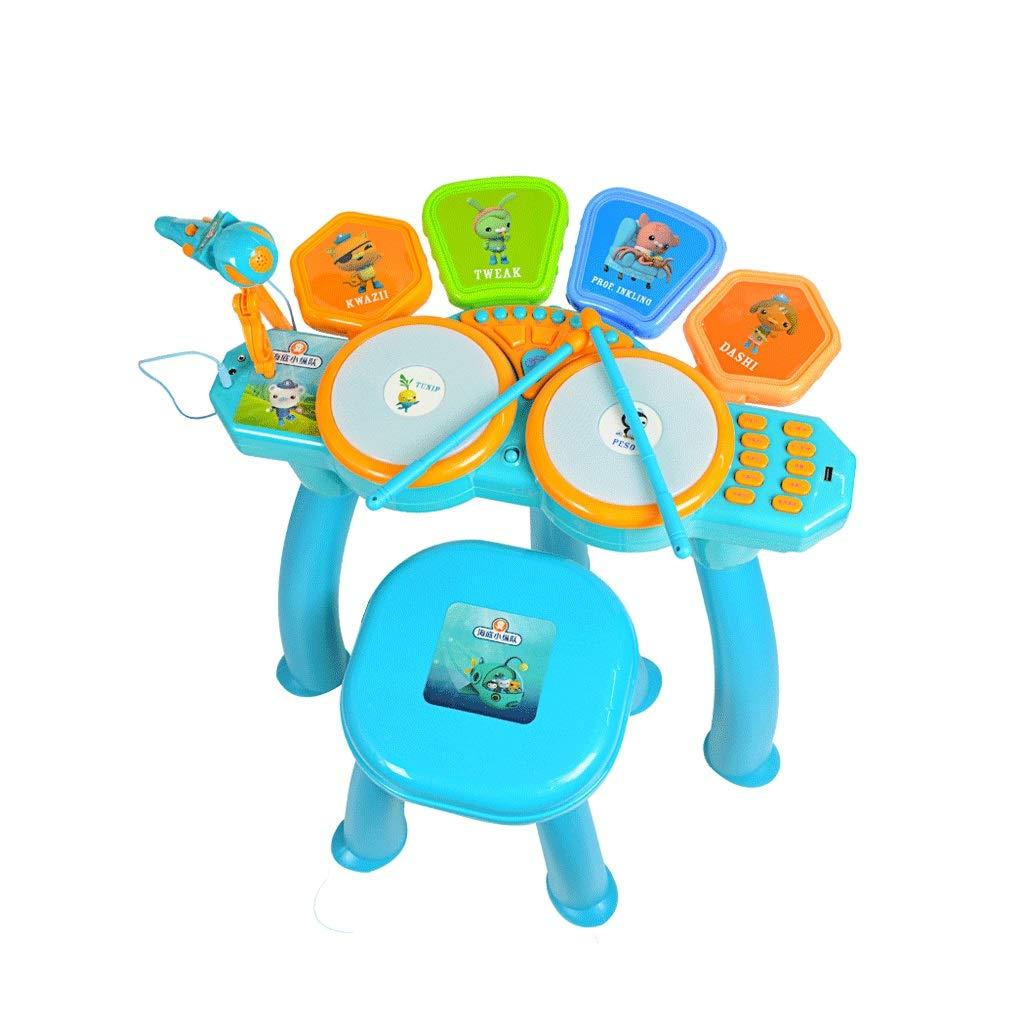 Blau X-CAT Kindertrommeln Anfängertrommeln Elektronische Schlagzeuge Beat Toy Gifts 3-6 Jahre Alt (Farbe   Blau)