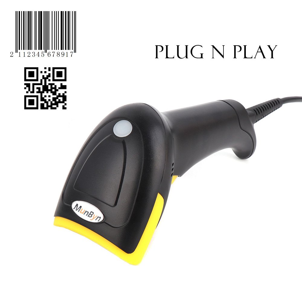 Wired 2D QR Barcode Reader Scanner MUNBYN CCD Scanner for Retail Shop, Clothing Store, Supermarket and Small Home Business