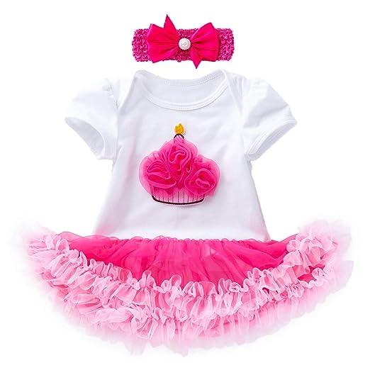 Adagod Baby Girls Its My 1st 2nd Birthday Cake Smash Outfit Romper Tutu Skirt Headband 2PCS Toddler Princess Dress Costume