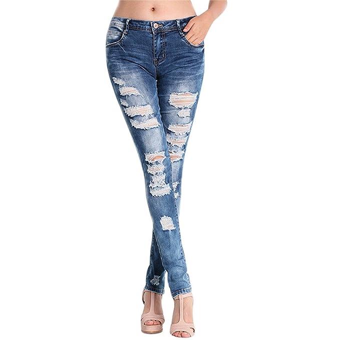 72605e605db4b6 UOMOGO Donne Sportiva Stretch Slim Fit Strappati Matita Scarni Pantaloni A Vita  Alta Jeans Skinny Stirata Pantaloni: Amazon.it: Abbigliamento