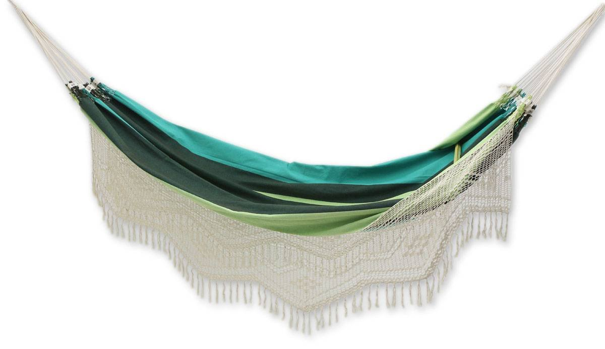 NOVICA Blue and Green 1 Person Cotton Hammock with White Crochet Fringe, Peaceful' (Single)