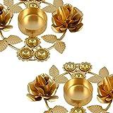 Handmade Gifts - Set Of 2 - Christmas Diya Lights Candle Holder Floral Arrangements