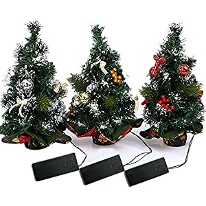 """3pcs 11.8"""" Tabletop Pre-lit Christmas Table Tree Battery Operated with Red Berries and Gold Ornaments 38"""