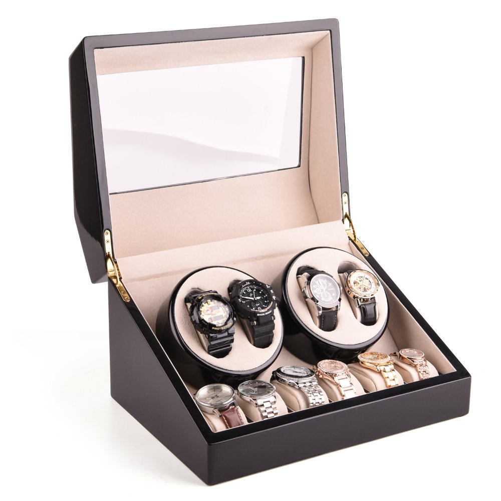 HEZALA Double Watch Winder Box for Rolex Automatic Watches with 6 Storages and Quiet Mabuchi Motor, Black