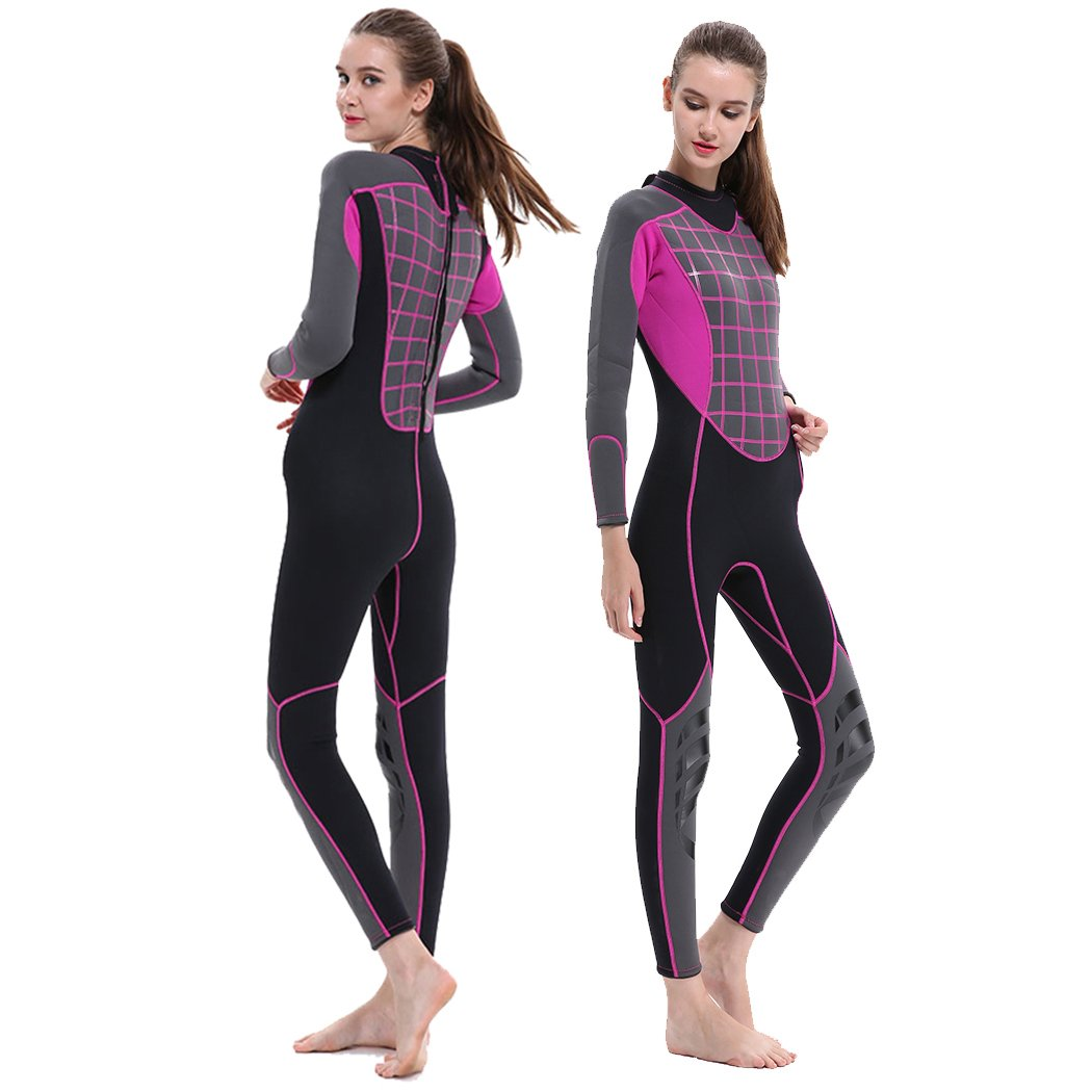 GoldFin Womens Wetsuits 3mm Neoprene Full Suit- Thermal Swim Suit Back Zip Long Sleeve for Diving Surfing Snorkeling, SW016 (Fuchsia, 3XL) by GoldFin