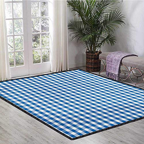 Checkered, Area Rug for Kids Room, Monochrome Gingham Checks Classical Country Culture Old Fashioned Grid Design, Door Mat Indoors Bathroom Mats Non Slip 5.8x8.5 Ft Blue White