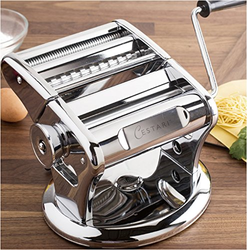 Ultimate Pasta Machine - Professional Pasta Maker - Unique Patented Suction Base for No-Slip Use of Stainless Steel Pasta Roller Machine - 150 mm - by Cestari Kitchen