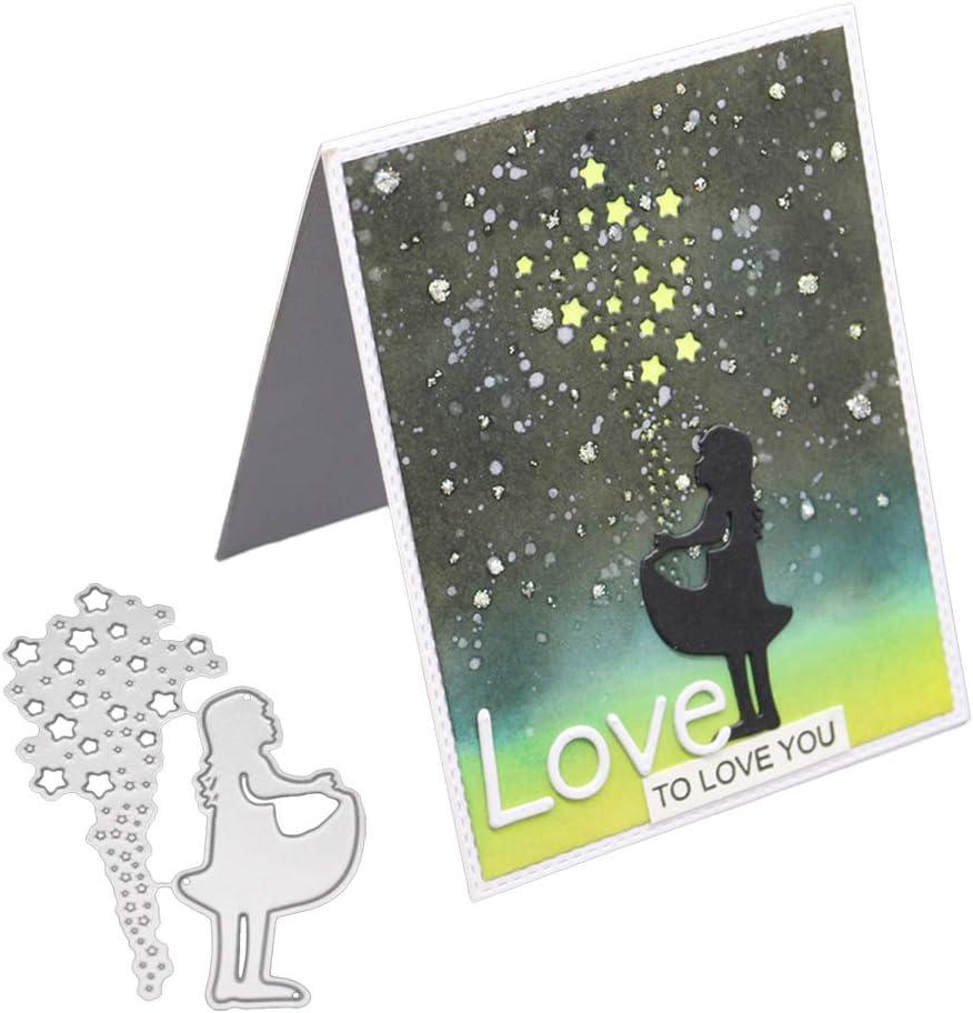 Silver Cutting Dies yanQxIzbiu Make Wish Girl Star Metal Cutting Dies DIY Scrapbooking Paper Cards Stencil