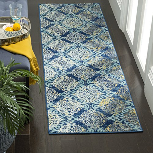 Safavieh Evoke Collection EVK230A Vintage Medallion Damask Royal Blue and Light Blue Runner (2'2