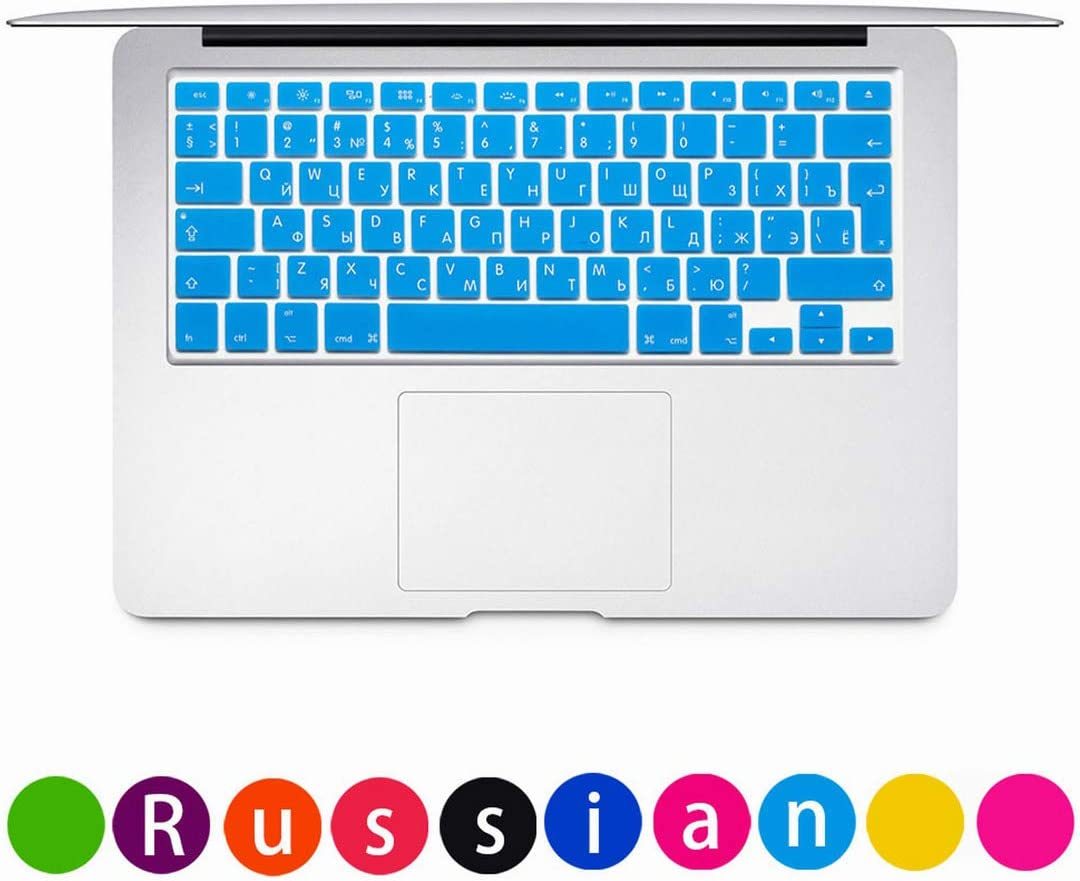 Russian for MacBook Pro Laptop Keyboard Cover Air 13 15Pro A1466A1502A1398A1278Eu Enter Silicone Keyboard Protective Film,Rose Red
