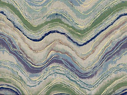 Swatch Sample Discount Fabric Richloom Upholstery Drapery Florence Aquamarine Waves NN13